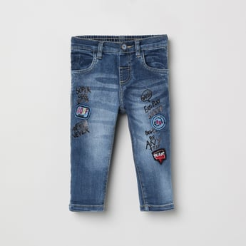 MAX Appliqued Stonewashed Slim Fit Jeans