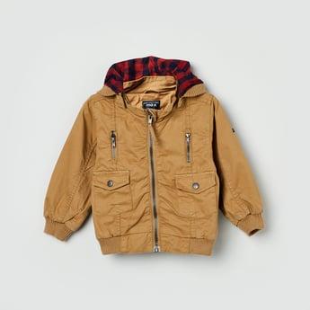 MAX Solid Hooded Zip-Closure Jacket