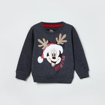 MAX Mickey Mouse Print Crew Neck Sweatshirt