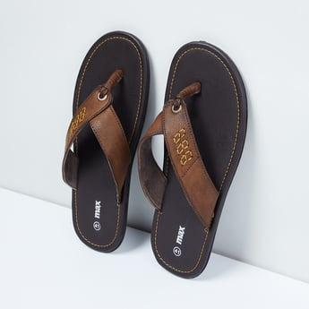MAX Textured Thong Slippers with Embroidery