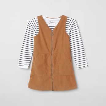 MAX Striped Top with Corduroy Dress