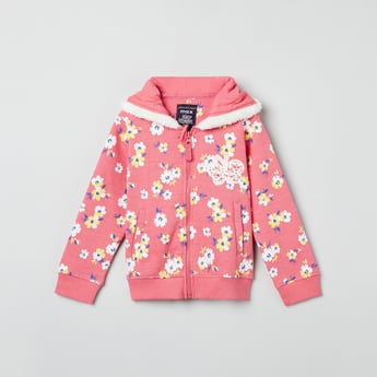 MAX Floral Print Zip-Up Sweatshirt
