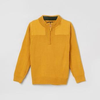 MAX Solid Zip-Closure Sweater