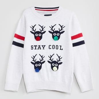 MAX Printed Pom Pom Detail Full Sleeves Sweater
