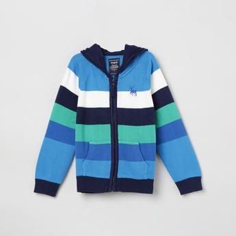 MAX Textured Full Sleeves Hooded Sweatshirt