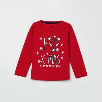 MAX Christmas Print T-shirt with Embroidery