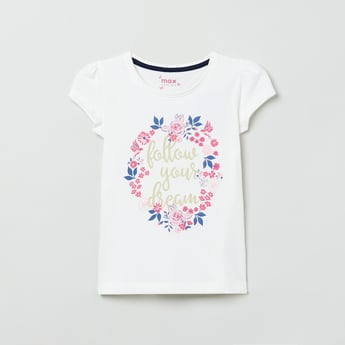 MAX Floral Print Puffed Sleeves T-shirt