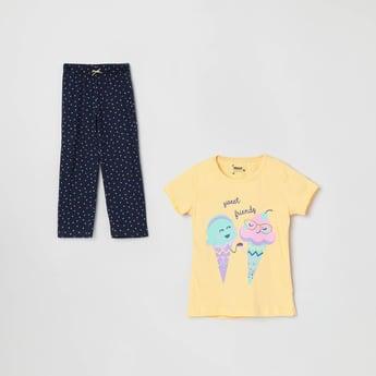 MAX Printed Short Sleeves Top with Pyjamas