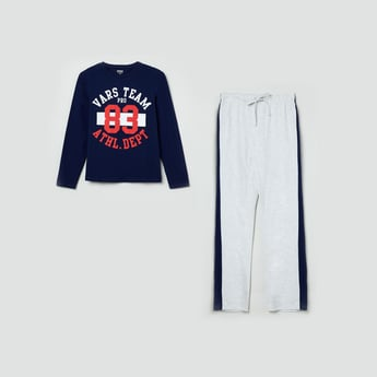 MAX Printed Full Sleeves T-shirt with Track Pants