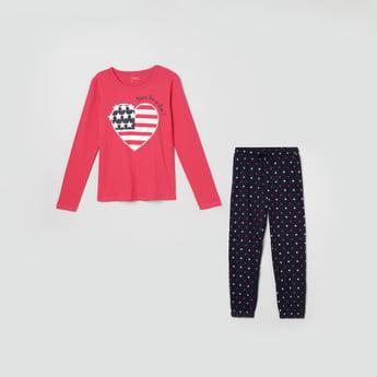 MAX Printed Full Sleeves Top with Pyjamas