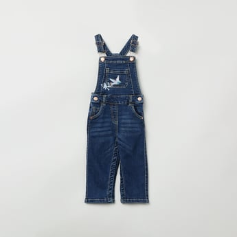MAX Dark Washed Denim Dungarees With Embroidery