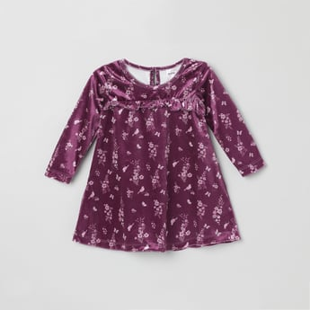 MAX Floral Print Round Neck Top with 3/4 Sleeves