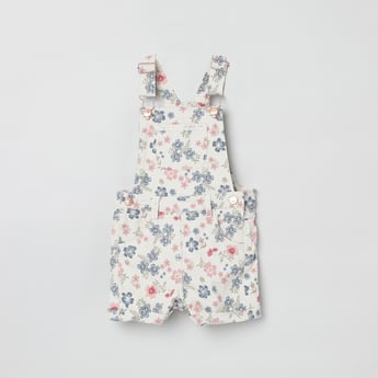MAX Floral Print Dungarees with Patch Pockets