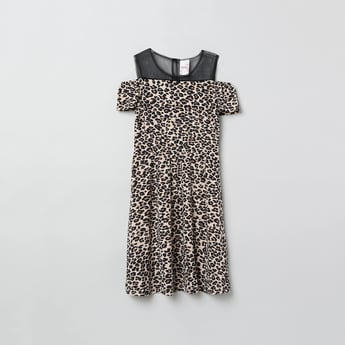 MAX Animal Print Dress with Cold Shoulder Sleeves