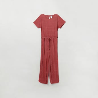 MAX Ribbed Round Neck Jumpsuit with Short Sleeves
