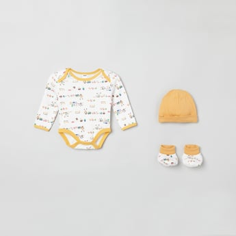 MAX Printed Rompers with Booties and Cap