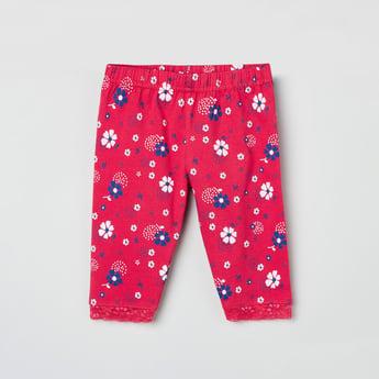 MAX Printed Lace Trim Leggings