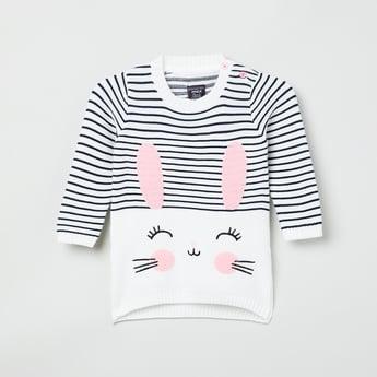 MAX Striped Bunny Applique Sweater