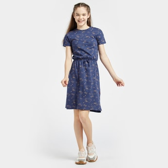 Hello Kitty Print Crew Neck Dress with Short Sleeves
