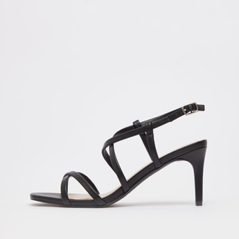 Solid Heel Sandals with Buckle Closure