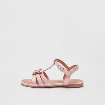 Butterfly Applique Detail Sandals with Pin Buckle Closure