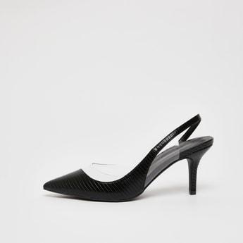 Textured Backstrap Sandals with Stiletto Heels