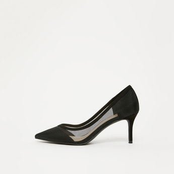 Solid Stilettos with Mesh Detail