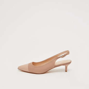 Textured Backstrap Sandals with Glossy Toe Box and Kitten Heels