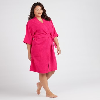 Textured Bathrobe with Pockets and Tie Ups