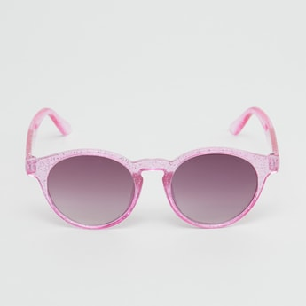 Full Rim Printed Round Sunglasses with Nose Pads