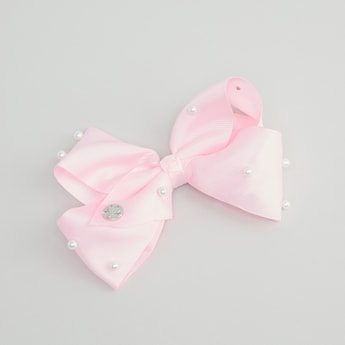 Pearl Embellished Bow Accented Hair Clip