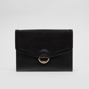 Textured Crossbody Bag with Metallic Strap and Zip Closure