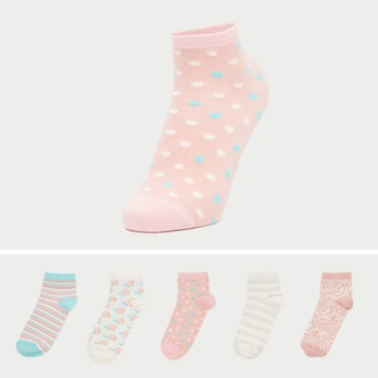 Set of 5 - Printed Ankle-Length Socks with Cuffed Hem