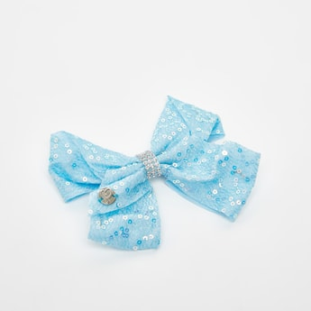 Sequin Embellished Bow Accented Hair Clip