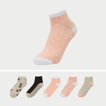 Set of 5 - Textured Ankle Length Socks with Cuffed Hem