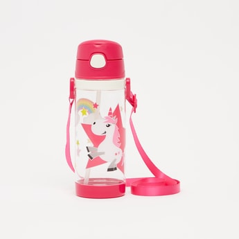 Printed Water Bottle with Flip Lid and Strap