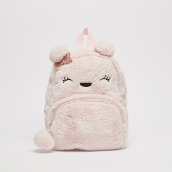Plush Detail Backpack with Adjustable Straps and Zip Closure