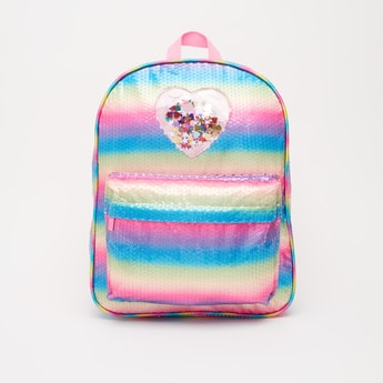 Embellished Backpack with Adjustable Shoulder Straps - 14 Inches