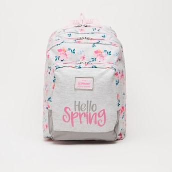 Floral Print Backpack with Adjustable Shoulder Straps - 16 Inches