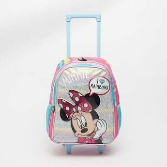 Minnie Mouse Print Trolley Backpack with Retractable Handle - 16 Inches