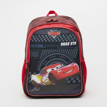Cars Print Backpack with Adjustable Shoulder Straps - 16 Inches