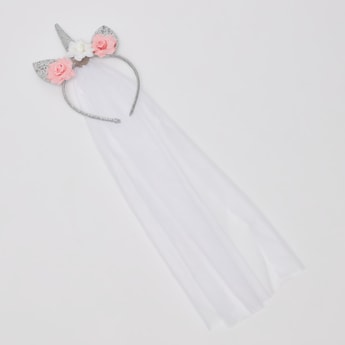 Glitter Embellished Hairband with Sheer Veil