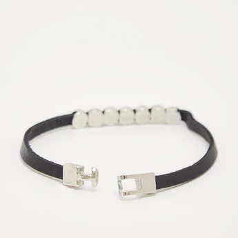 Leather Detail Men's Wristband