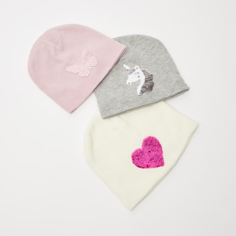 Set of 3 - Sequin Detail Beanie Cap with Cuffed Hem