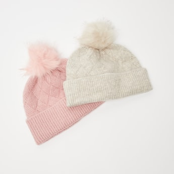 Set of 2 - Textured Beanie Cap with Cuffed Hem and Pom-Pom Detail