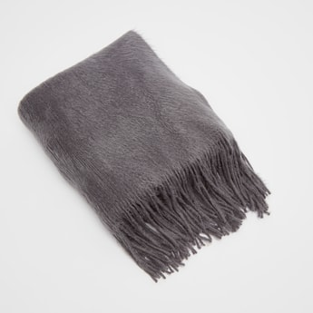 Plush Detail Woolen Scarf with Fringes