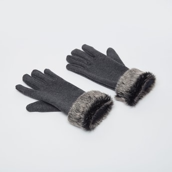 Textured Gloves with Fur Detail and Cuffed Hem