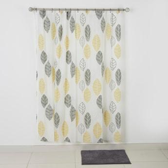 ستارة استحمام بطبعات مع سجادة حمام بارزة الملمس - 180x180 سم
