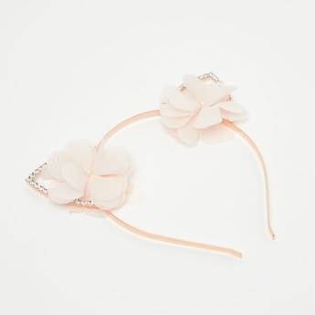 Metallic Hairband with Floral and Crystal Studded Ear Accent