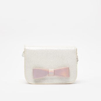 Embellished Crossbody Bag with Bow Accent